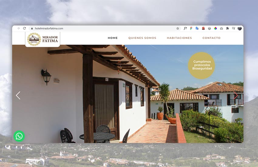 Sitio web para hotel Mirador Fátima www.hotelmiradorfatima.com